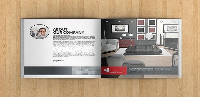 Mẫu catalogue thiết kế với tông màu trắng - xám, dùng hình ảnh 3D