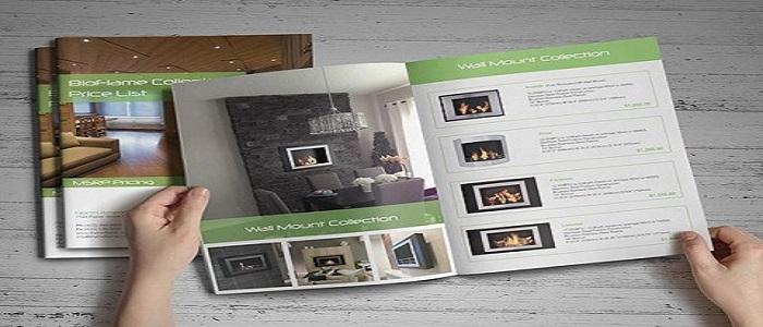 Tông màu trắng xanh của cuốn catalogue nội thất mang đến cho khách hàng sự ấn tượng