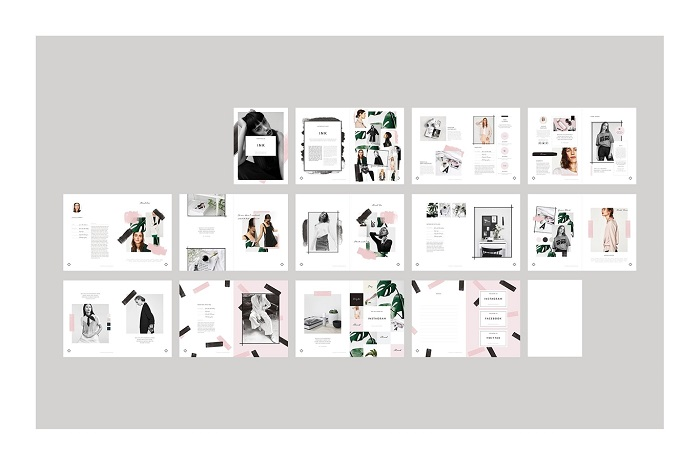 Catalogue thiết kế tông đen - hồng đơn giản mà tinh tế